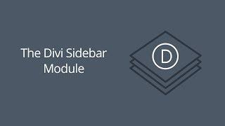 The Divi Sidebar Module